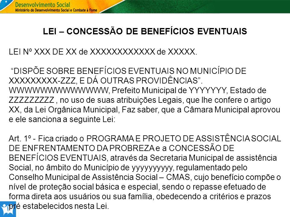 LEI – CONCESSÃO DE BENEFÍCIOS EVENTUAIS