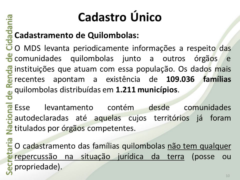 Cadastro Único Cadastramento de Quilombolas: