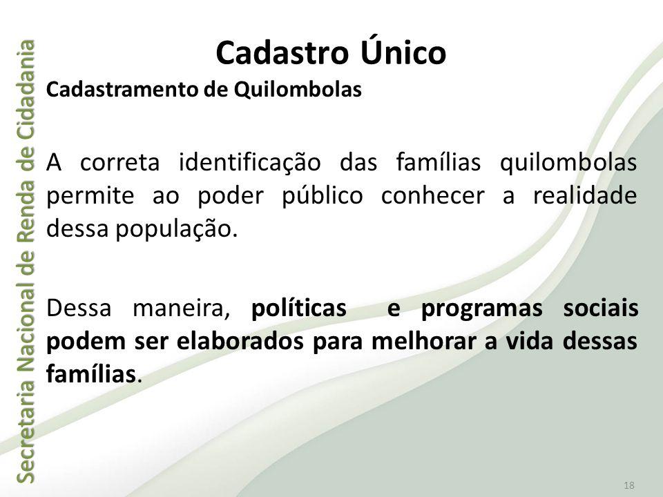 Cadastro Único Cadastramento de Quilombolas.