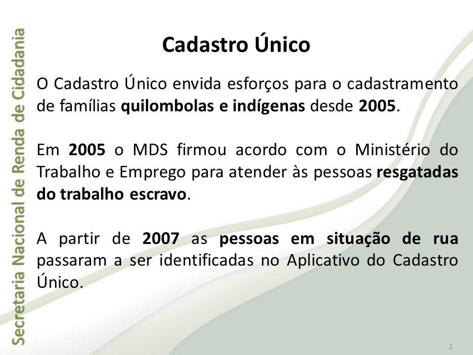 Cadastro Único O Cadastro Único envida esforços para o cadastramento de famílias quilombolas e indígenas desde 2005.