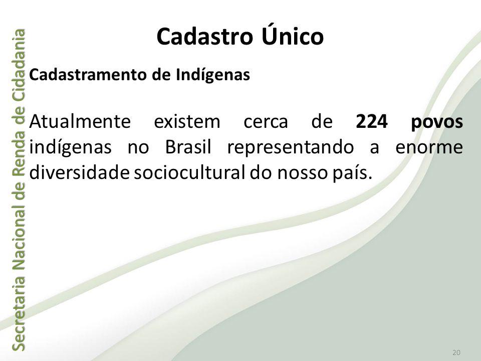 Cadastro Único Cadastramento de Indígenas.