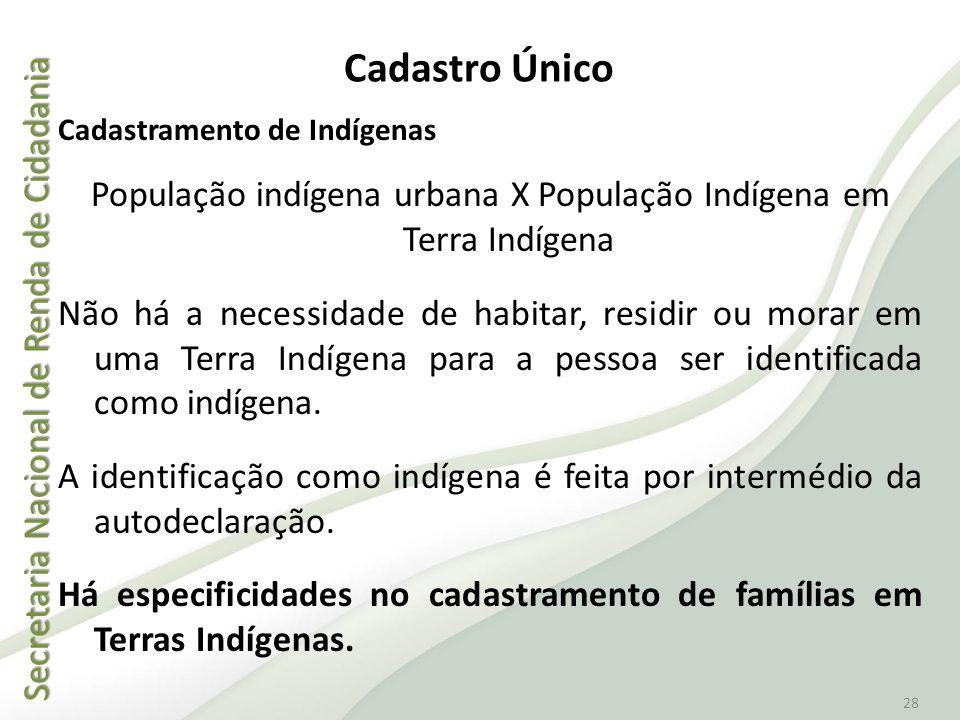 População indígena urbana X População Indígena em Terra Indígena