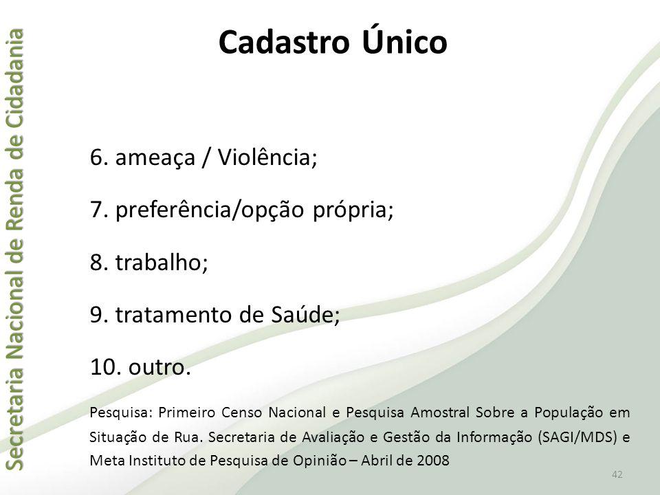 Cadastro Único 6. ameaça / Violência; 7. preferência/opção própria;
