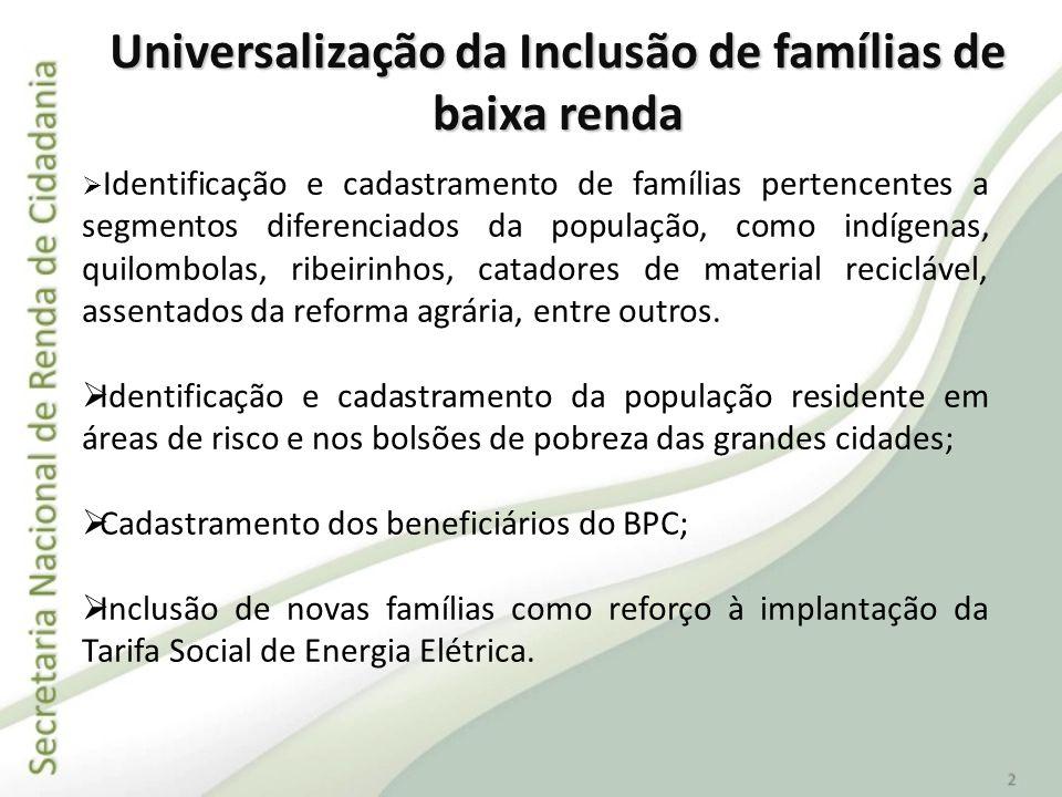 Universalização da Inclusão de famílias de baixa renda