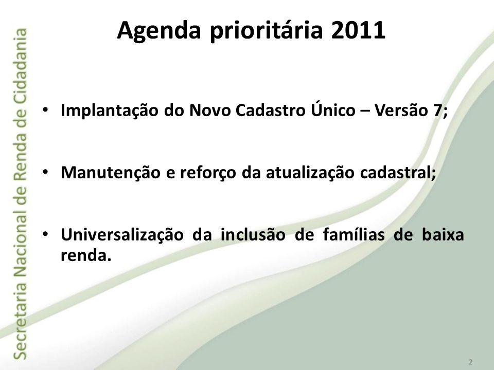 Agenda prioritária 2011 Implantação do Novo Cadastro Único – Versão 7;