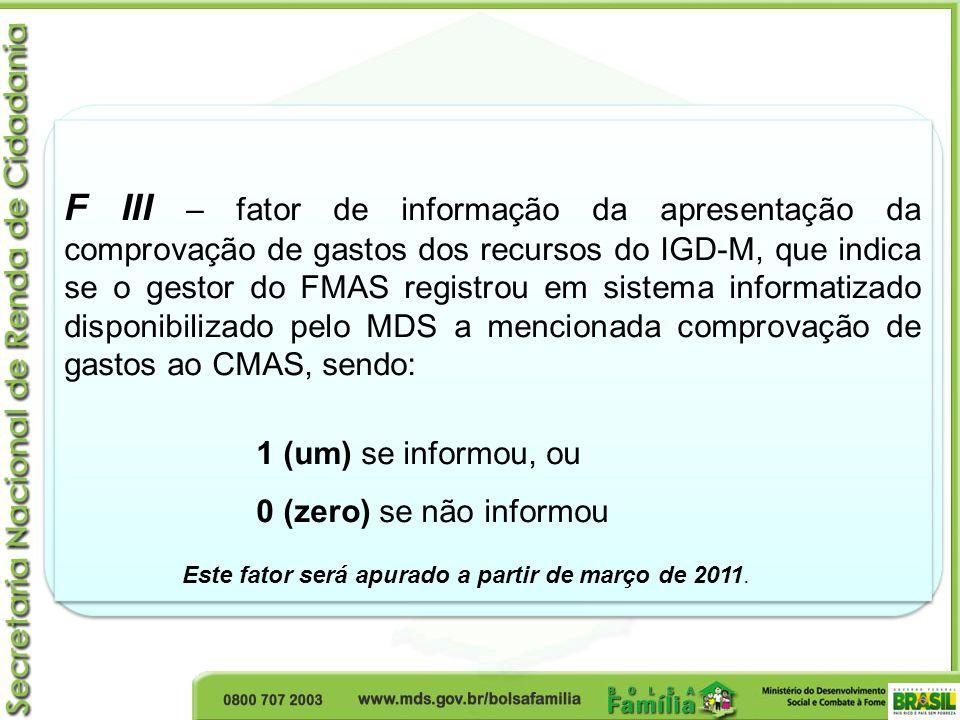 F III – fator de informação da apresentação da comprovação de gastos dos recursos do IGD-M, que indica se o gestor do FMAS registrou em sistema informatizado disponibilizado pelo MDS a mencionada comprovação de gastos ao CMAS, sendo: