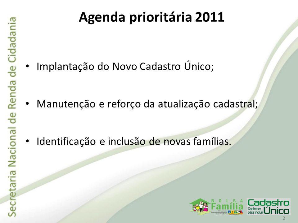 Agenda prioritária 2011 Implantação do Novo Cadastro Único;