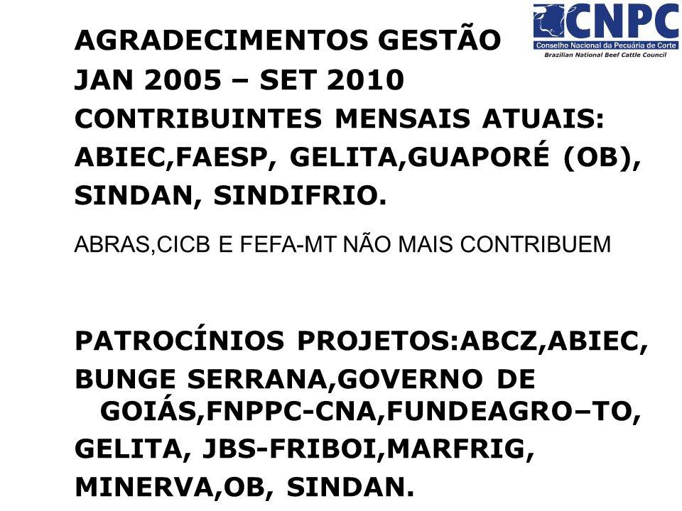 AGRADECIMENTOS GESTÃO JAN 2005 – SET 2010