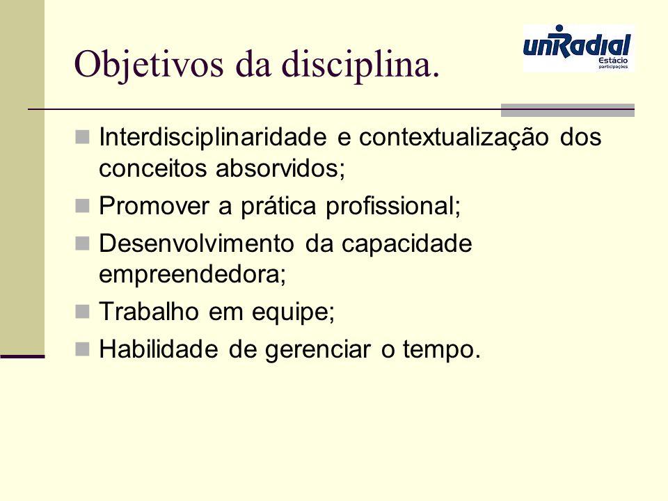 Objetivos da disciplina.
