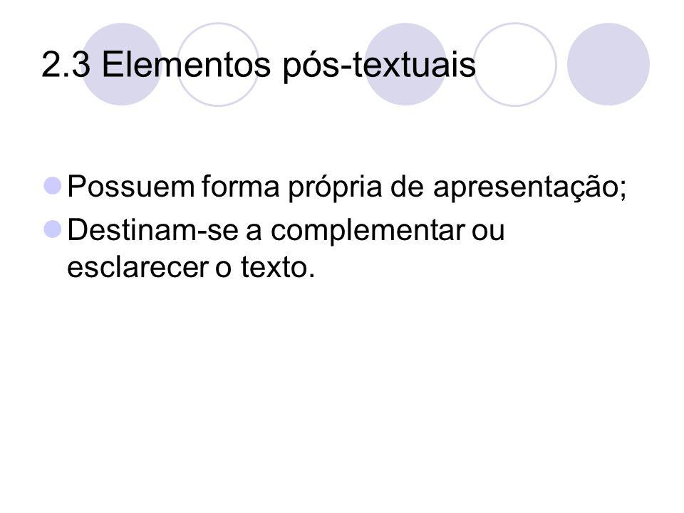 2.3 Elementos pós-textuais