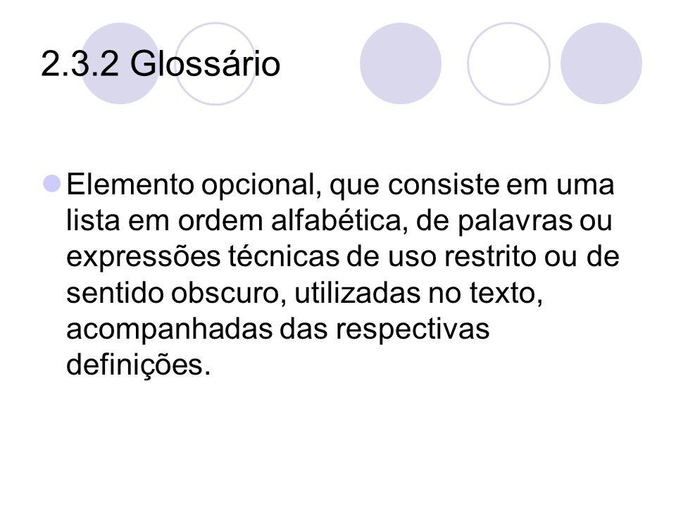 2.3.2 Glossário