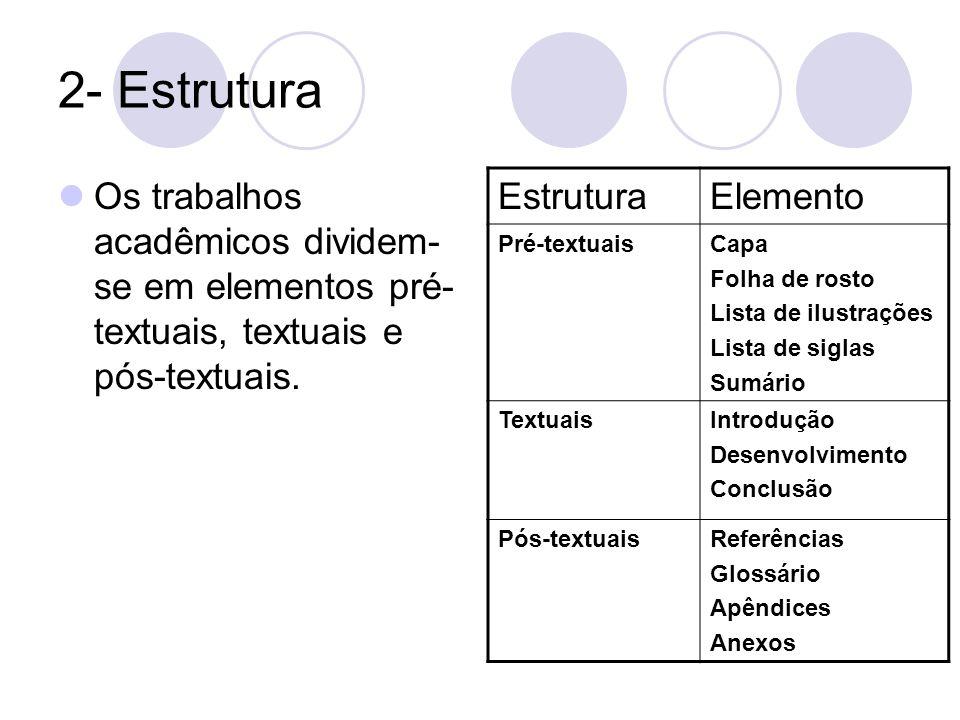 2- Estrutura Os trabalhos acadêmicos dividem-se em elementos pré-textuais, textuais e pós-textuais.