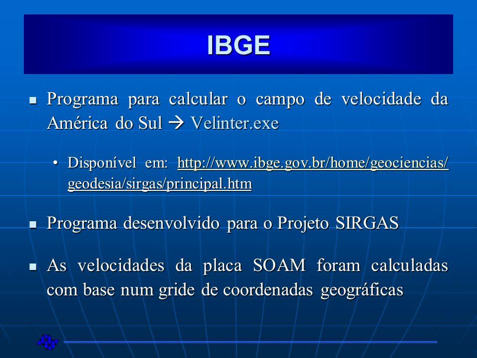 IBGE Programa para calcular o campo de velocidade da América do Sul  Velinter.exe.
