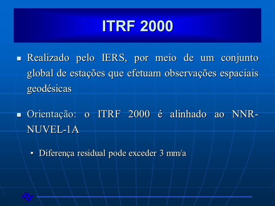 ITRF 2000 Realizado pelo IERS, por meio de um conjunto global de estações que efetuam observações espaciais geodésicas.