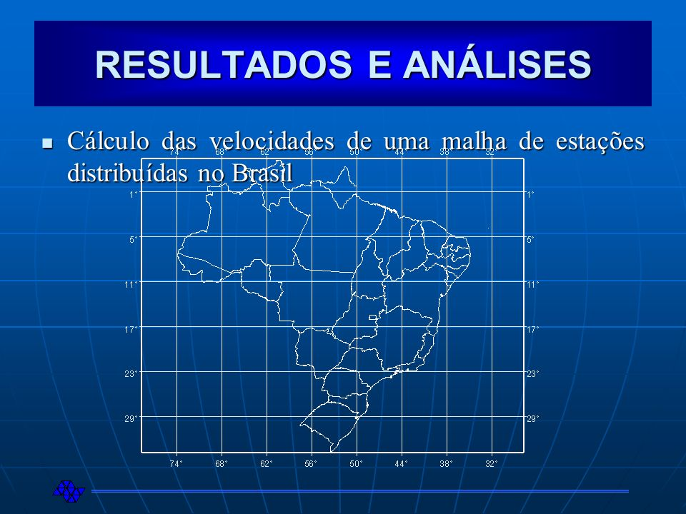 RESULTADOS E ANÁLISES Cálculo das velocidades de uma malha de estações distribuídas no Brasil