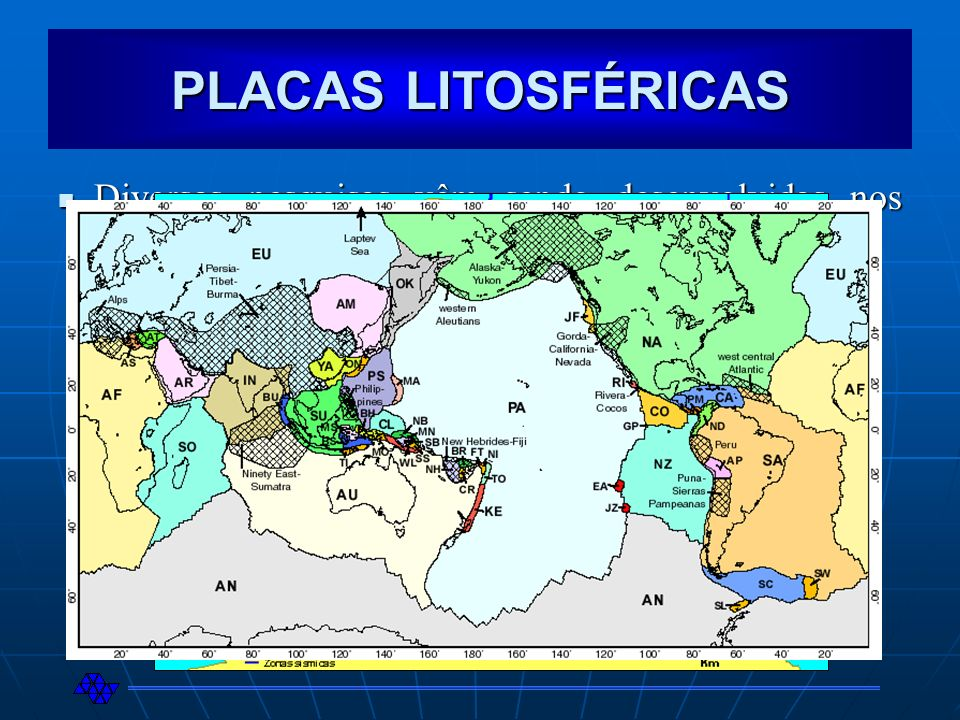 PLACAS LITOSFÉRICAS Diversas pesquisas vêm sendo desenvolvidas nos últimos anos com relação às placas litosféricas.
