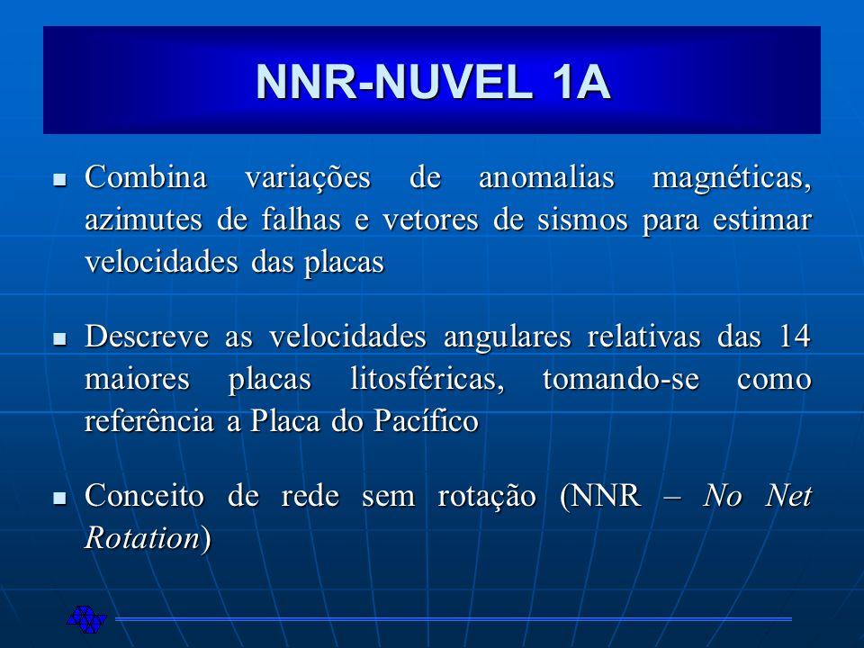 NNR-NUVEL 1A Combina variações de anomalias magnéticas, azimutes de falhas e vetores de sismos para estimar velocidades das placas.