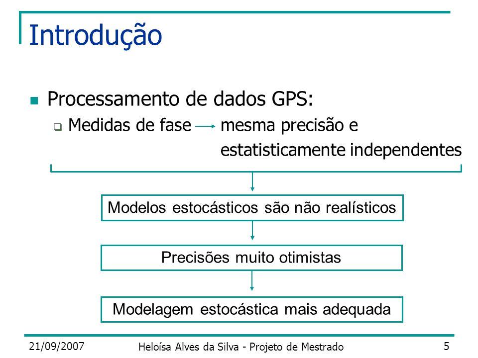 Introdução Processamento de dados GPS: