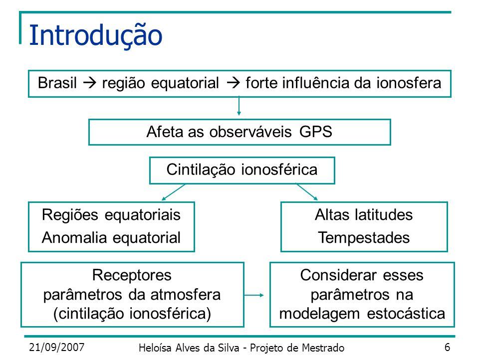 Introdução Brasil  região equatorial  forte influência da ionosfera