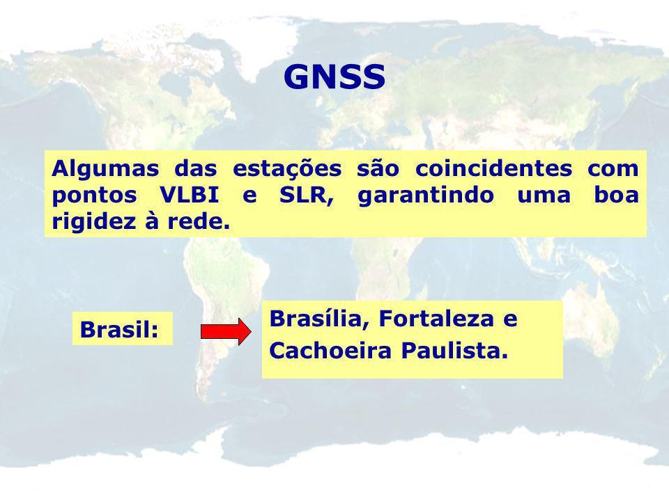 GNSS Algumas das estações são coincidentes com pontos VLBI e SLR, garantindo uma boa rigidez à rede.