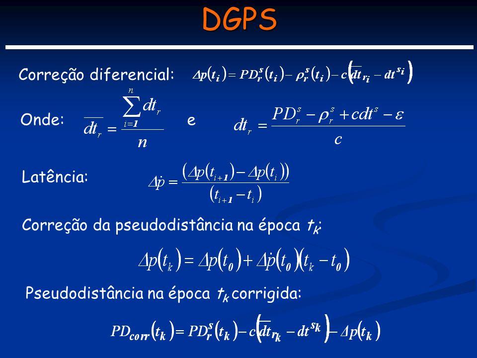 DGPS Correção diferencial: Onde: e Latência: