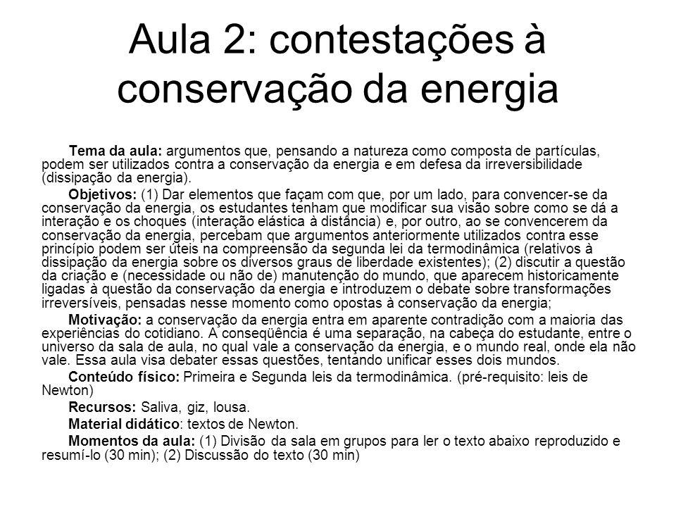 Aula 2: contestações à conservação da energia