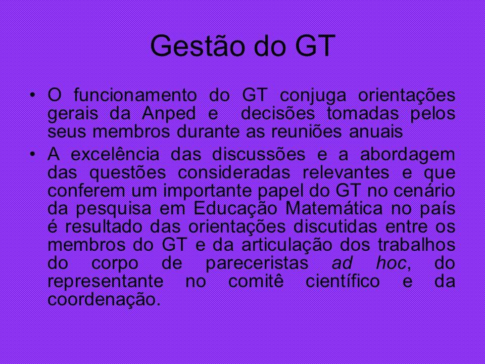 Gestão do GT O funcionamento do GT conjuga orientações gerais da Anped e decisões tomadas pelos seus membros durante as reuniões anuais.
