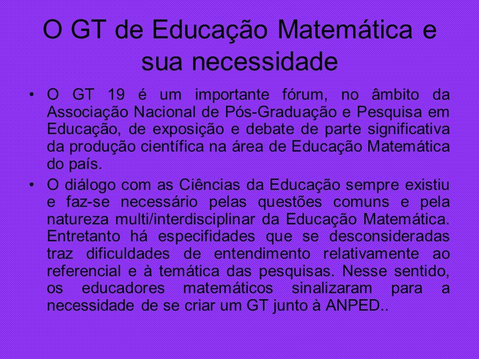 O GT de Educação Matemática e sua necessidade