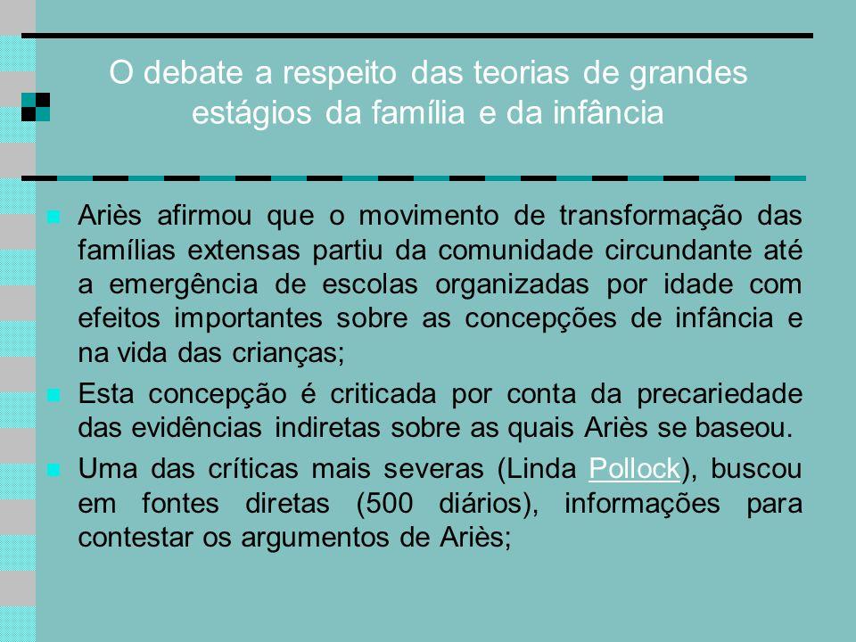 O debate a respeito das teorias de grandes estágios da família e da infância