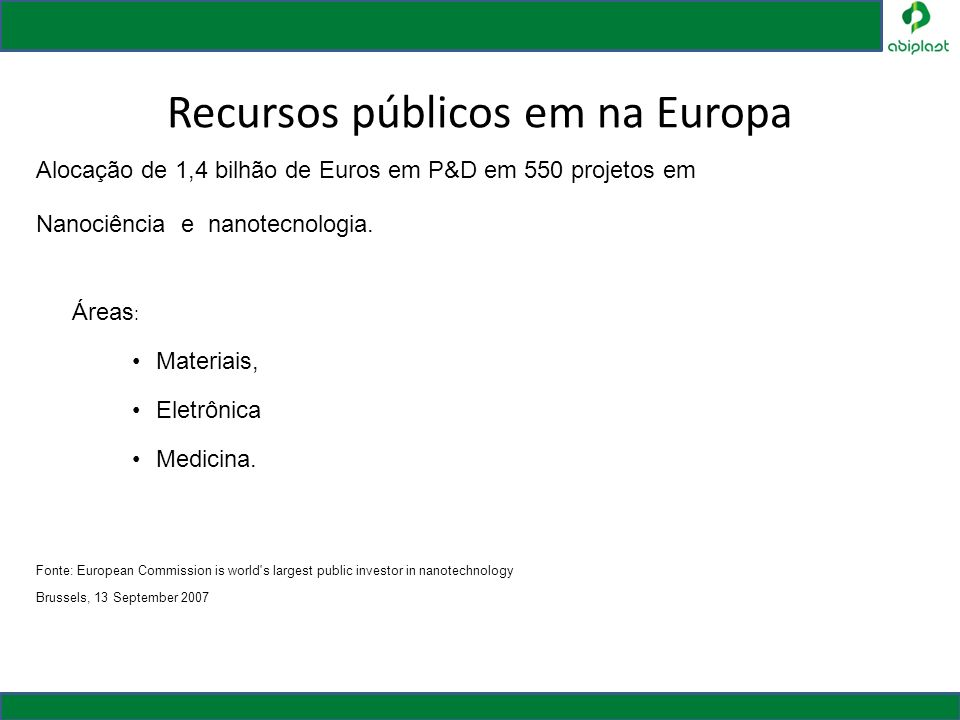 Recursos públicos em na Europa