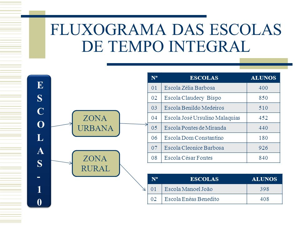 FLUXOGRAMA DAS ESCOLAS DE TEMPO INTEGRAL