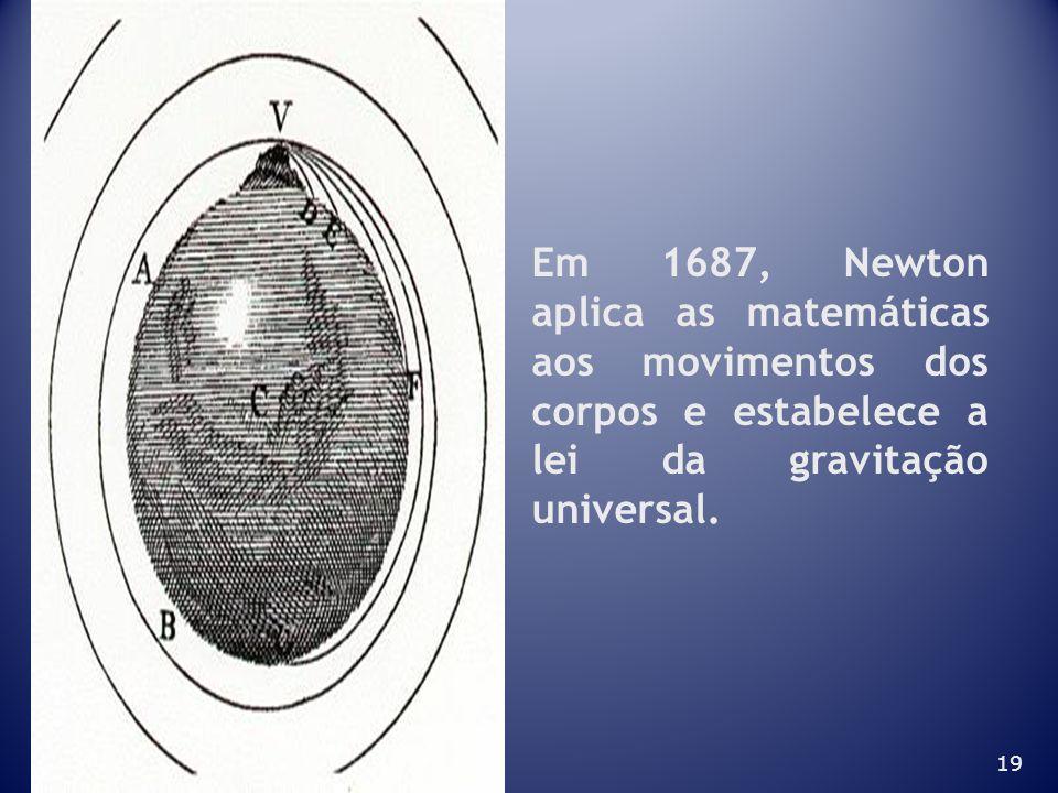 Em 1687, Newton aplica as matemáticas aos movimentos dos corpos e estabelece a lei da gravitação universal.