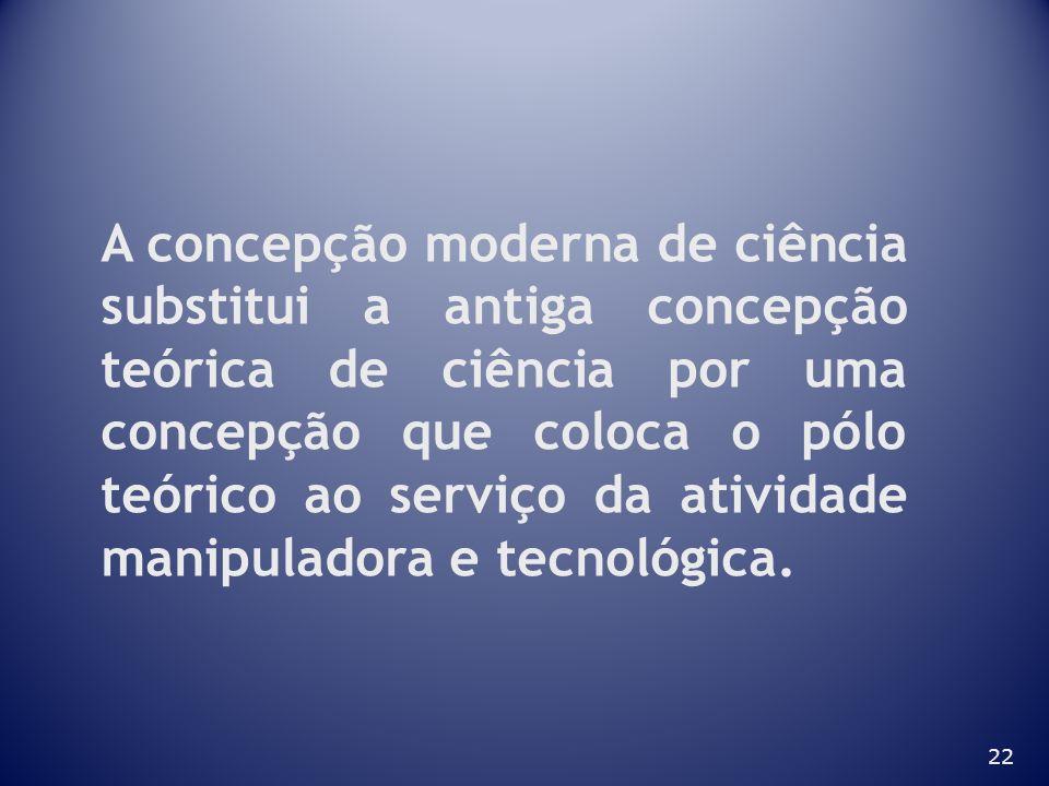 A concepção moderna de ciência substitui a antiga concepção teórica de ciência por uma concepção que coloca o pólo teórico ao serviço da atividade manipuladora e tecnológica.