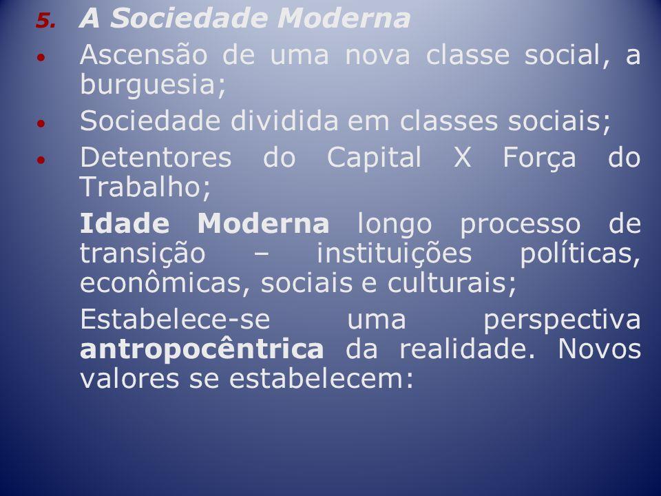 A Sociedade ModernaAscensão de uma nova classe social, a burguesia; Sociedade dividida em classes sociais;