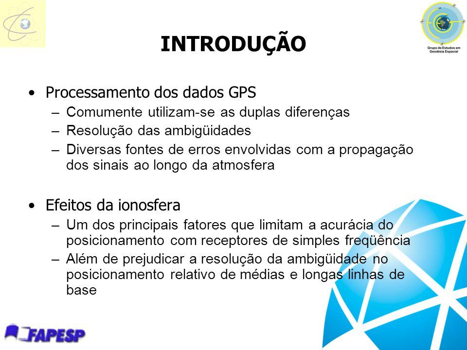 INTRODUÇÃO Processamento dos dados GPS Efeitos da ionosfera