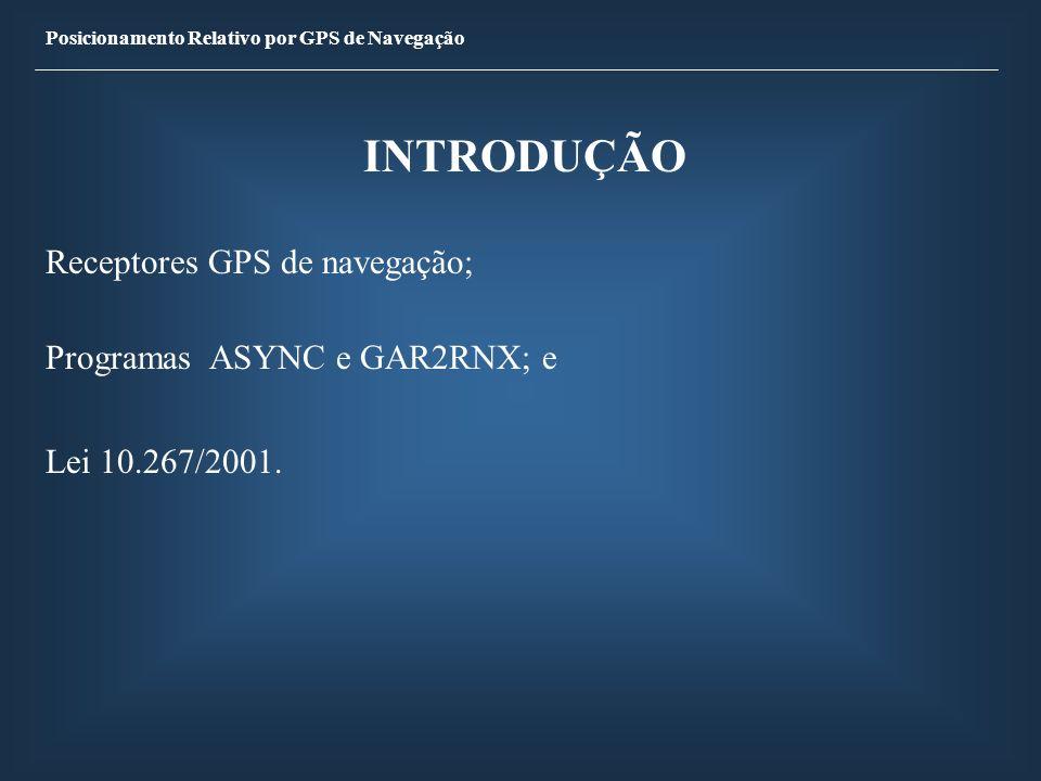 INTRODUÇÃO Receptores GPS de navegação; Programas ASYNC e GAR2RNX; e