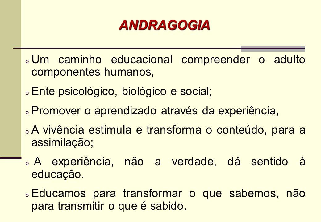 ANDRAGOGIA Um caminho educacional compreender o adulto componentes humanos, Ente psicológico, biológico e social;