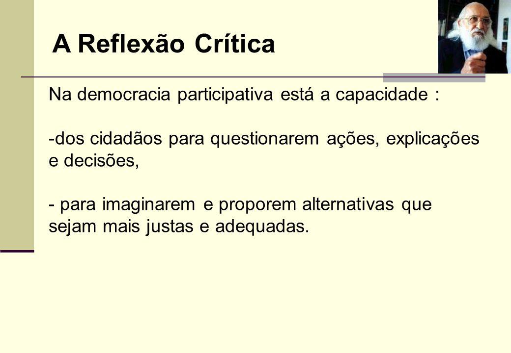 A Reflexão Crítica Na democracia participativa está a capacidade :