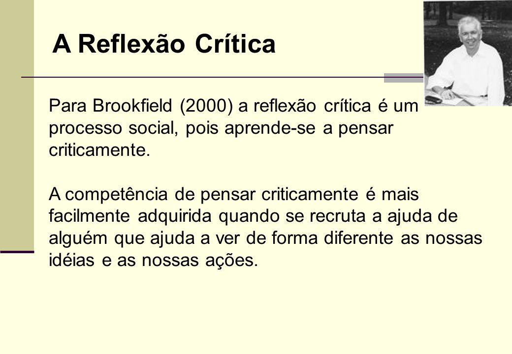 A Reflexão Crítica Para Brookfield (2000) a reflexão crítica é um processo social, pois aprende-se a pensar criticamente.
