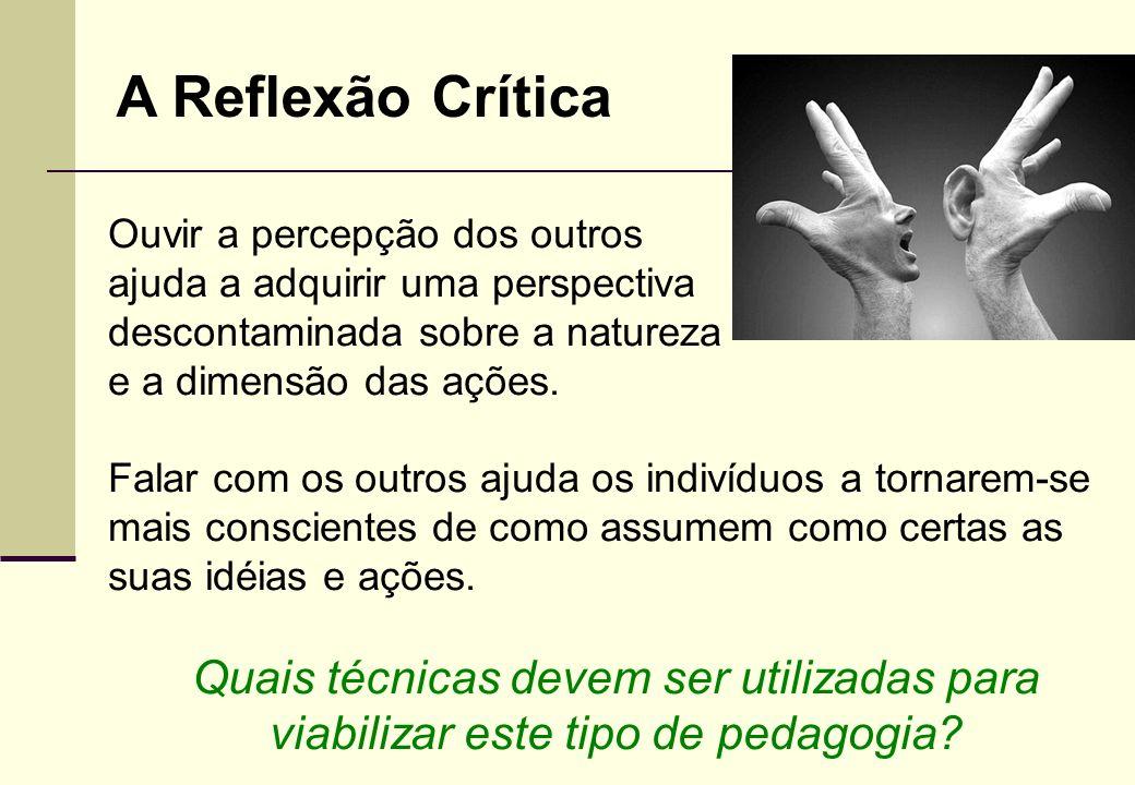 A Reflexão Crítica Ouvir a percepção dos outros. ajuda a adquirir uma perspectiva. descontaminada sobre a natureza.