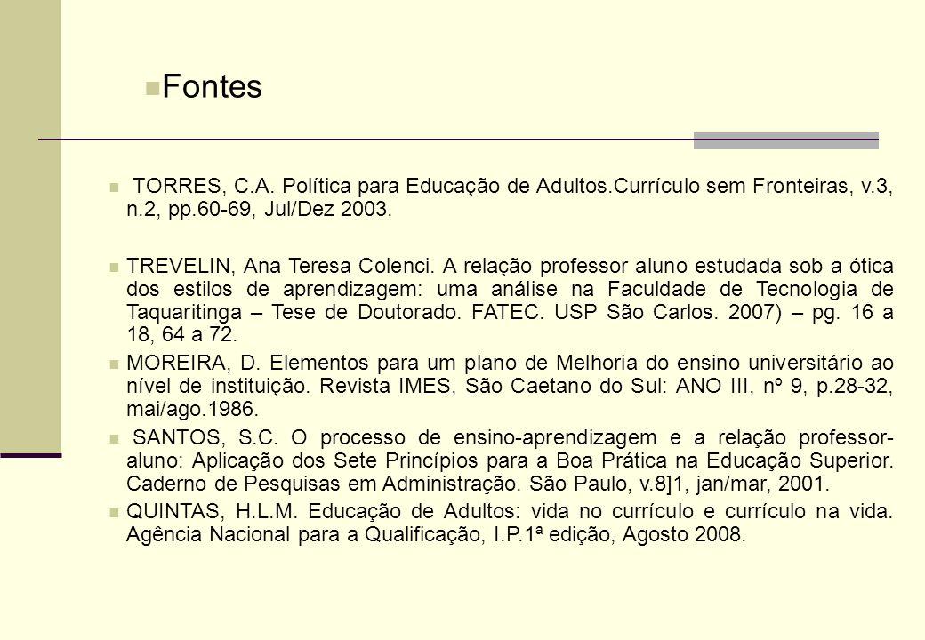 Fontes TORRES, C.A. Política para Educação de Adultos.Currículo sem Fronteiras, v.3, n.2, pp.60-69, Jul/Dez 2003.