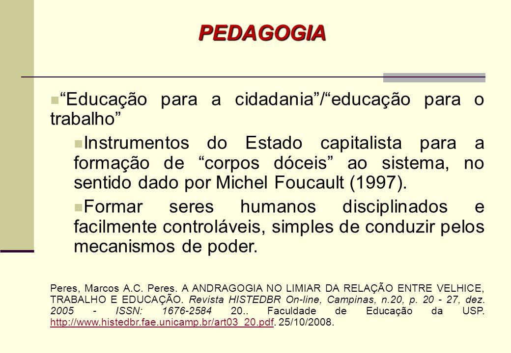 PEDAGOGIA Educação para a cidadania / educação para o trabalho