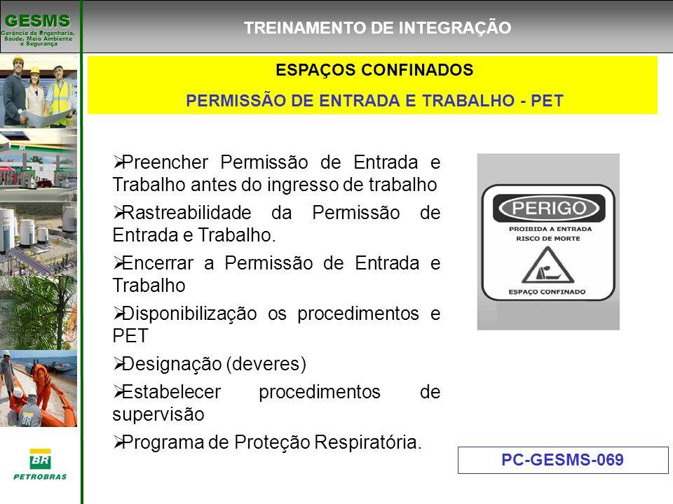 TREINAMENTO DE INTEGRAÇÃO PERMISSÃO DE ENTRADA E TRABALHO - PET