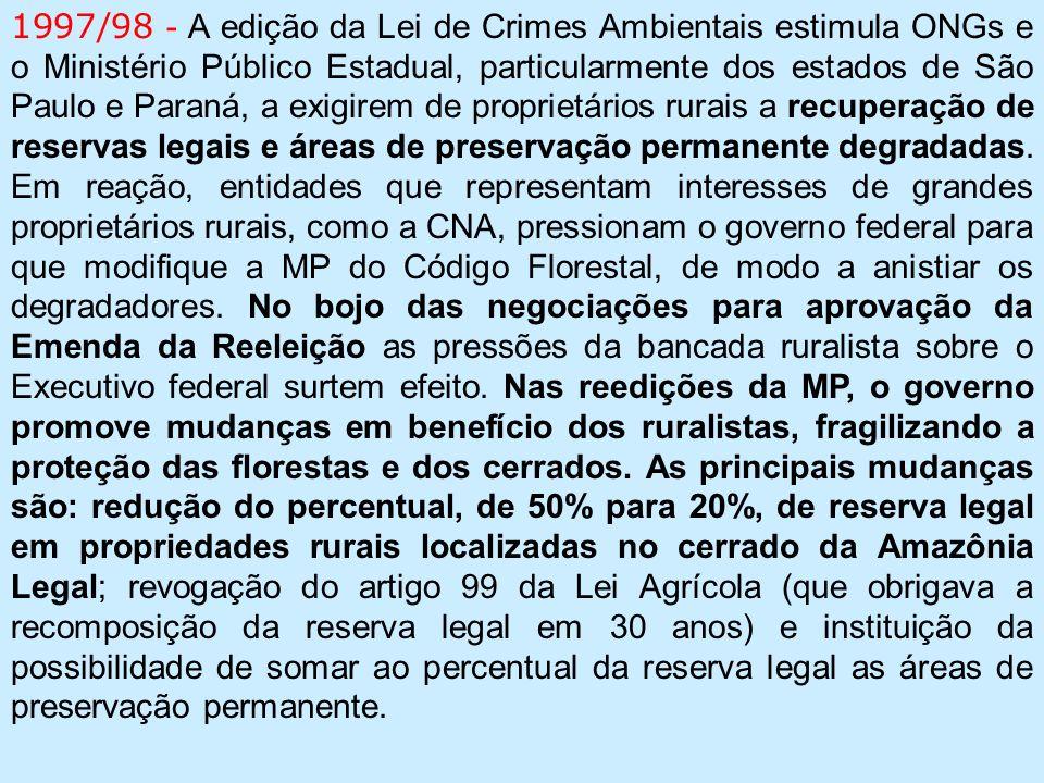 1997/98 - A edição da Lei de Crimes Ambientais estimula ONGs e o Ministério Público Estadual, particularmente dos estados de São Paulo e Paraná, a exigirem de proprietários rurais a recuperação de reservas legais e áreas de preservação permanente degradadas.