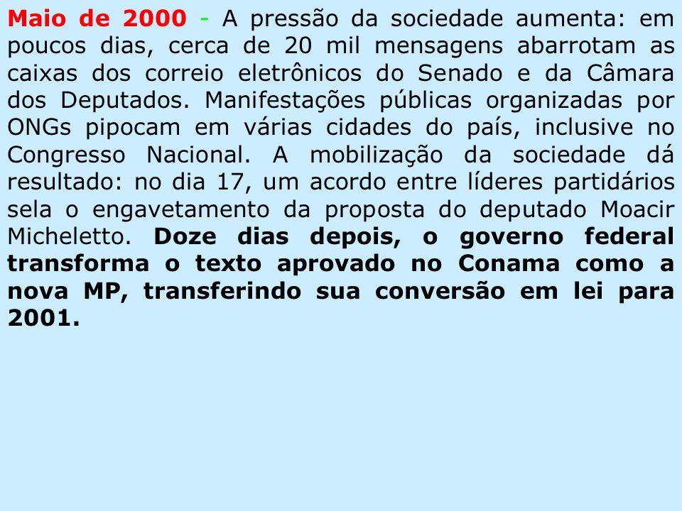 Maio de 2000 - A pressão da sociedade aumenta: em poucos dias, cerca de 20 mil mensagens abarrotam as caixas dos correio eletrônicos do Senado e da Câmara dos Deputados.