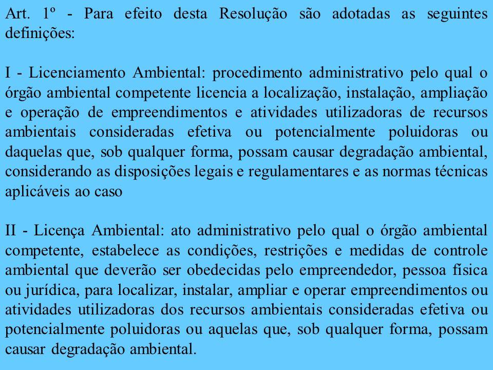 Art. 1º - Para efeito desta Resolução são adotadas as seguintes definições: