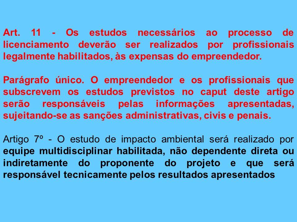 Art. 11 - Os estudos necessários ao processo de licenciamento deverão ser realizados por profissionais legalmente habilitados, às expensas do empreendedor.