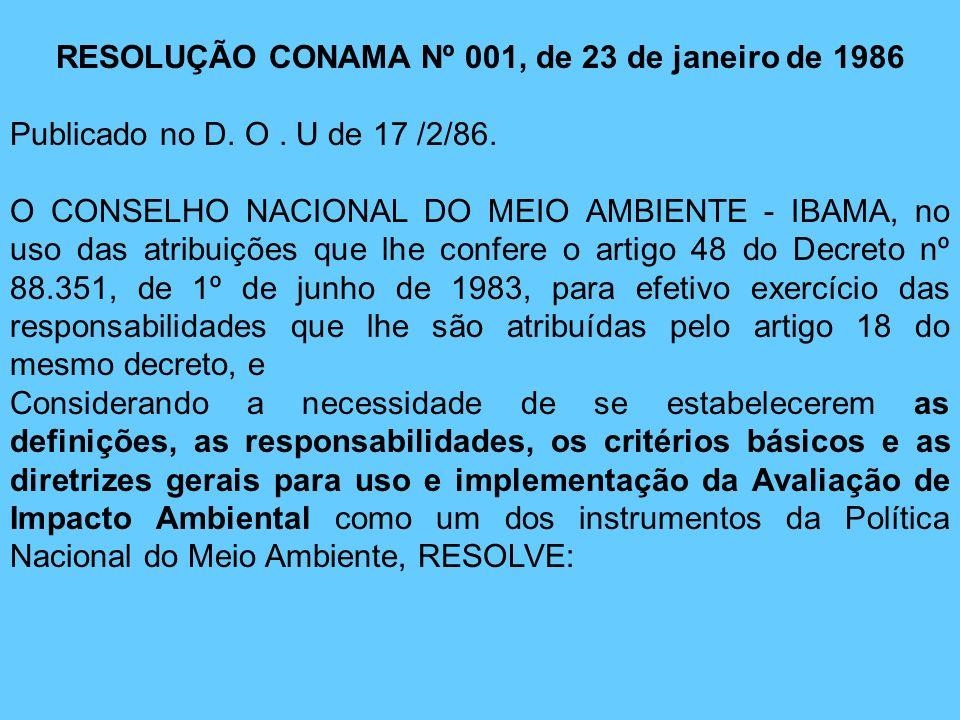 RESOLUÇÃO CONAMA Nº 001, de 23 de janeiro de 1986