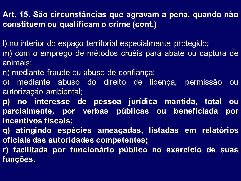 Art. 15. São circunstâncias que agravam a pena, quando não constituem ou qualificam o crime (cont.)