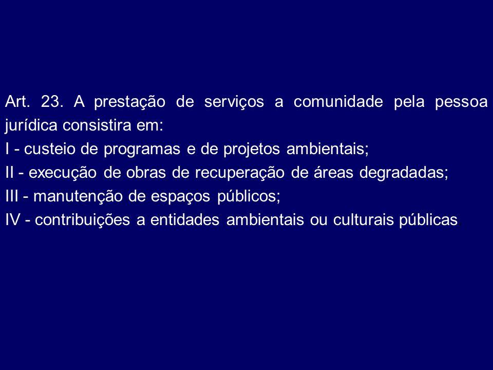 Art. 23. A prestação de serviços a comunidade pela pessoa jurídica consistira em:
